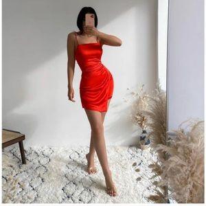 NWT ZARA Satin Dress Red L Blogger Favorite